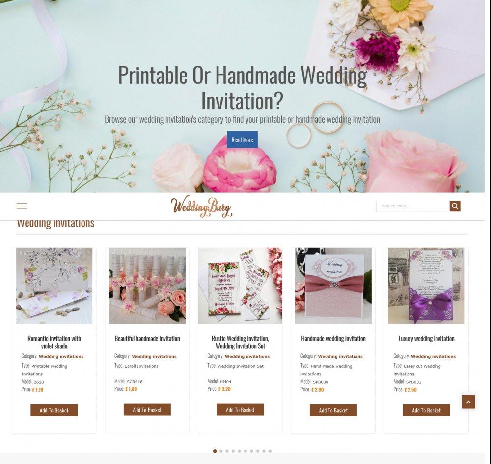 Нашето портфолио включващо завършени проекти за онлайн електронен магазин - Weddingburg